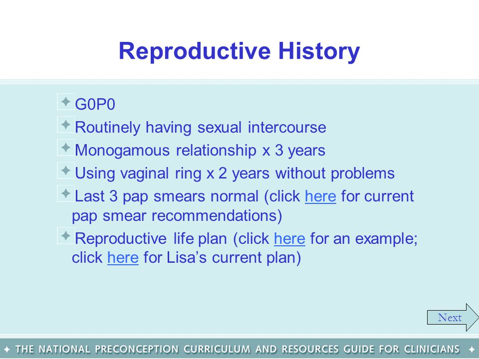 Reproductive History G0P0 Routinely having sexual intercourse