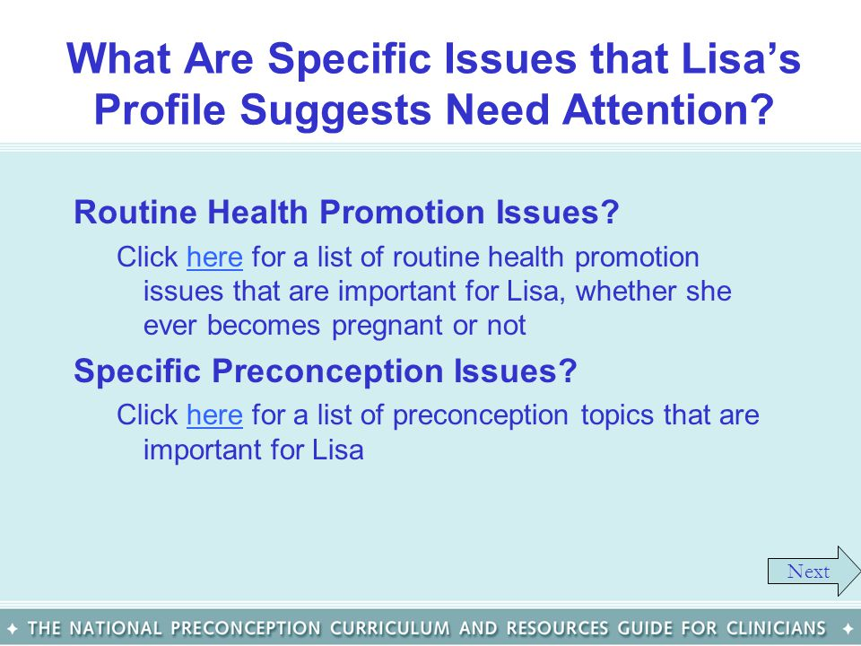 What Are Specific Issues that Lisa's Profile Suggests Need Attention