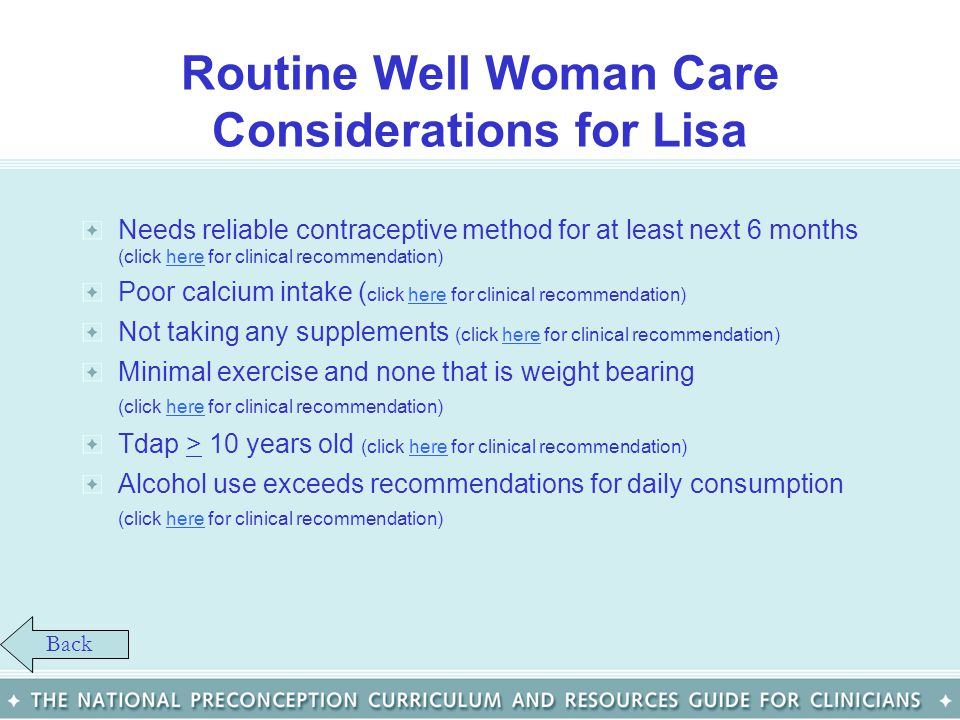 Routine Well Woman Care Considerations for Lisa
