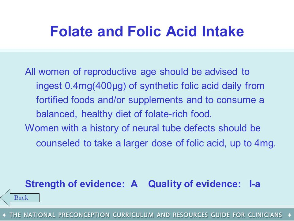 Folate and Folic Acid Intake