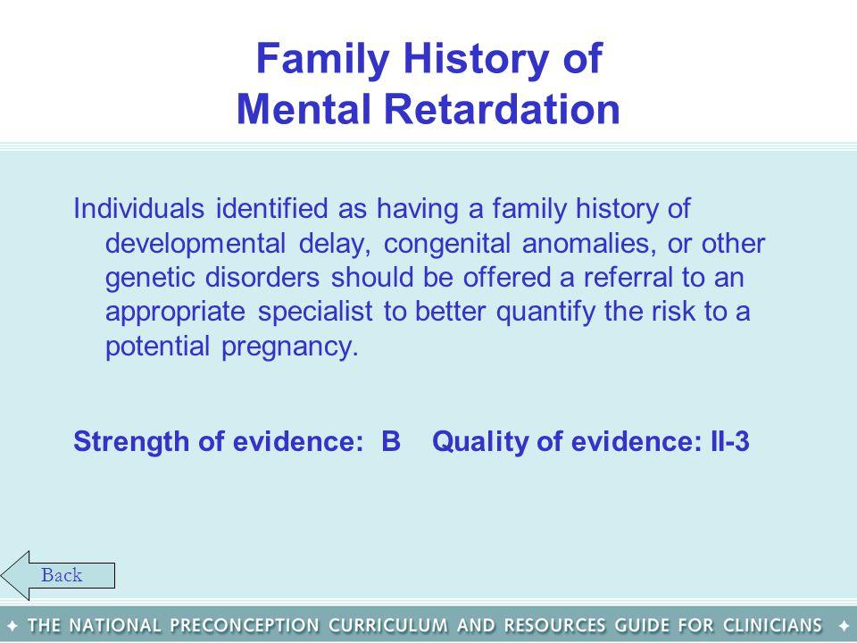 Family History of Mental Retardation