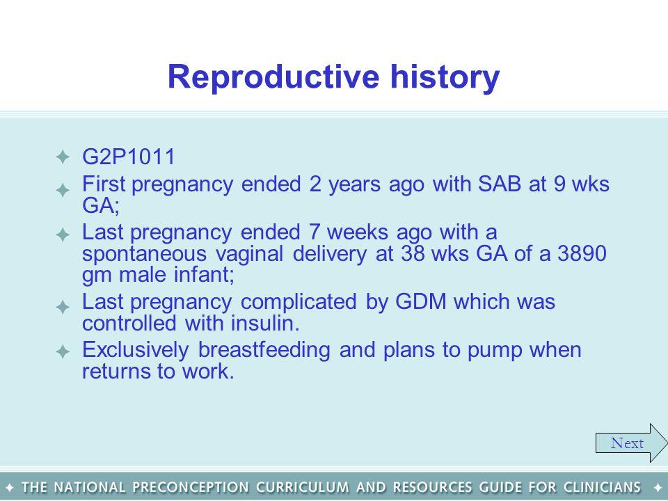 Reproductive history G2P1011