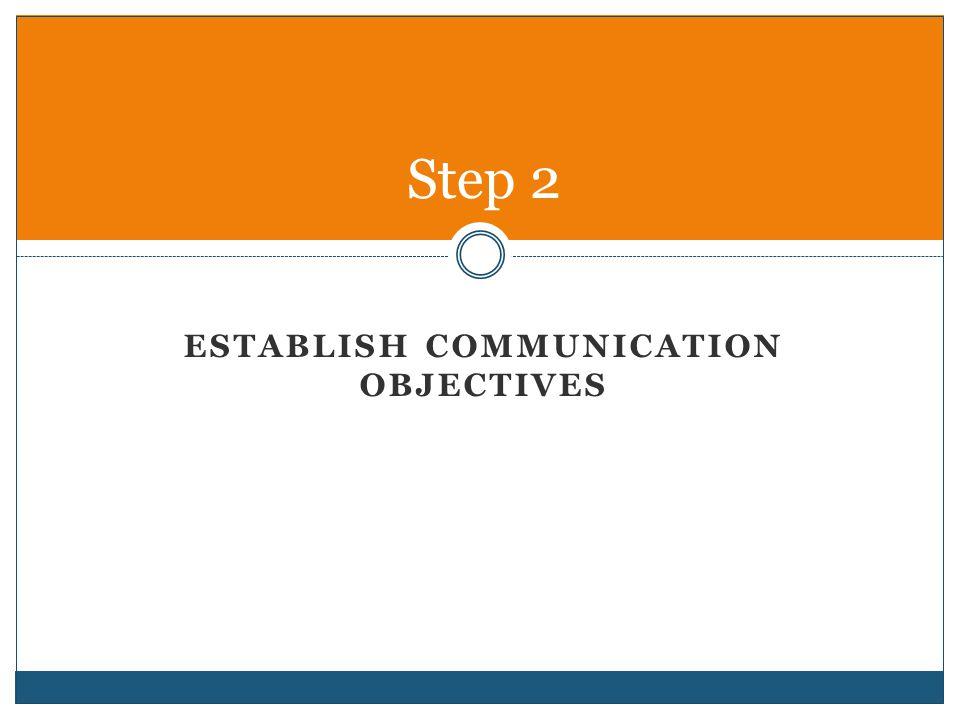 Establish communication objectives