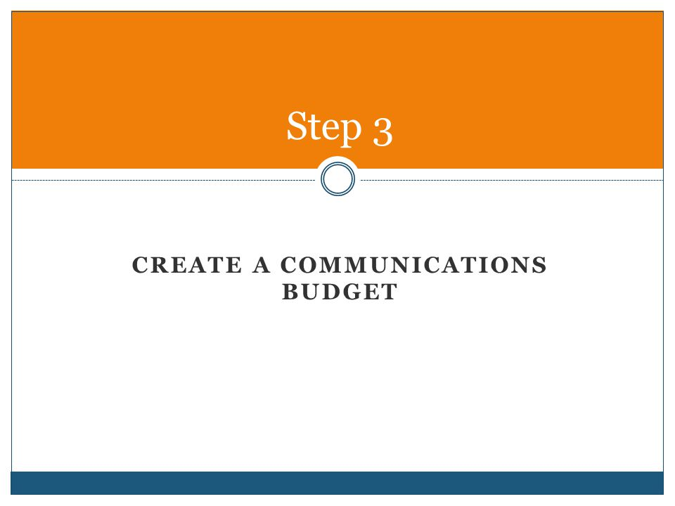 Create a Communications budget