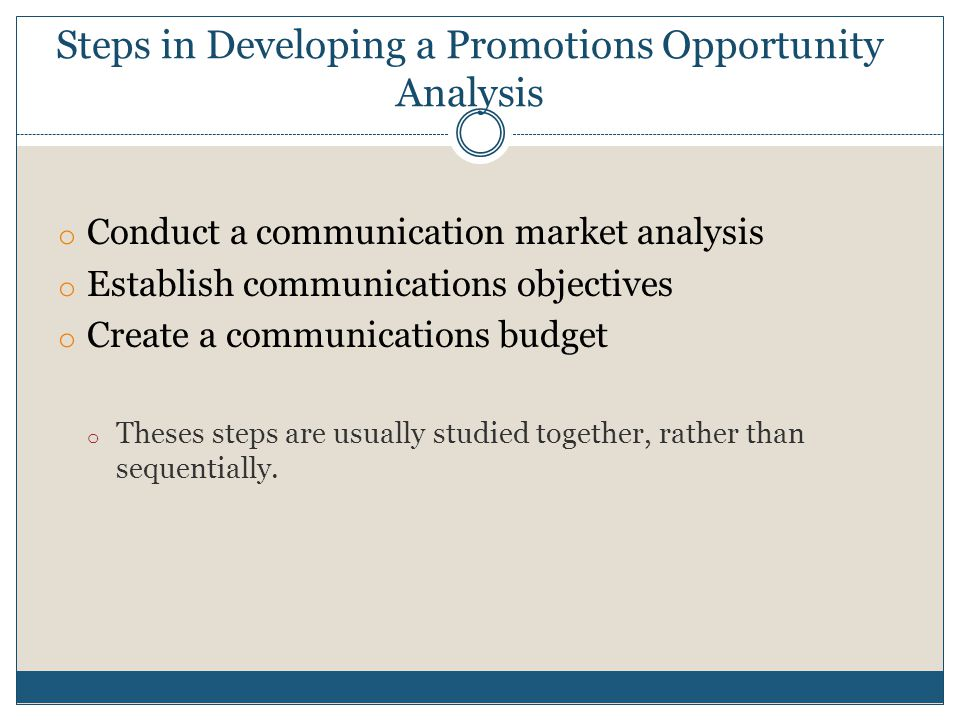 Steps in Developing a Promotions Opportunity Analysis