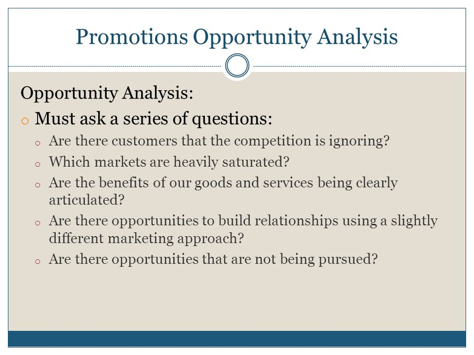 Promotions Opportunity Analysis