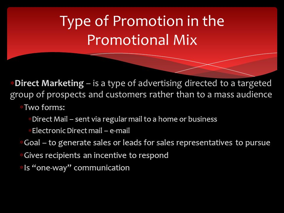 Type of Promotion in the Promotional Mix