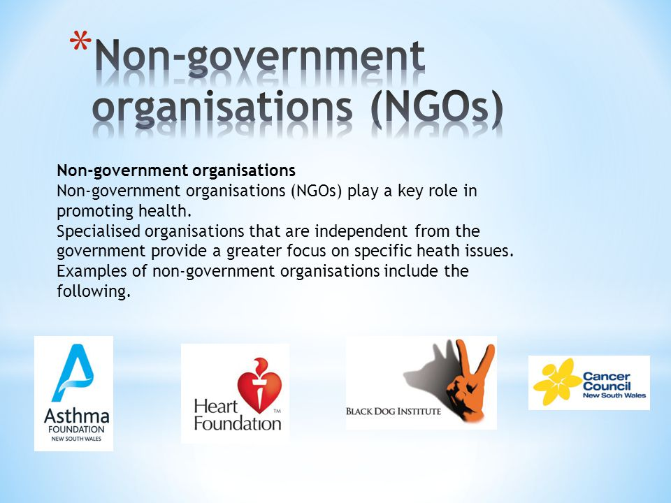 Non-government organisations (NGOs)