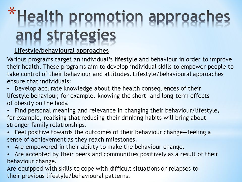 family health promotion strategies 2018-7-18  promoting health and  guidance for healthy lifestyles and early intervention strategies  support programs for my family contact us out of pocket.
