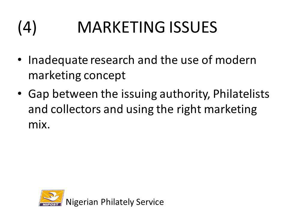 (4) MARKETING ISSUES Inadequate research and the use of modern marketing concept.