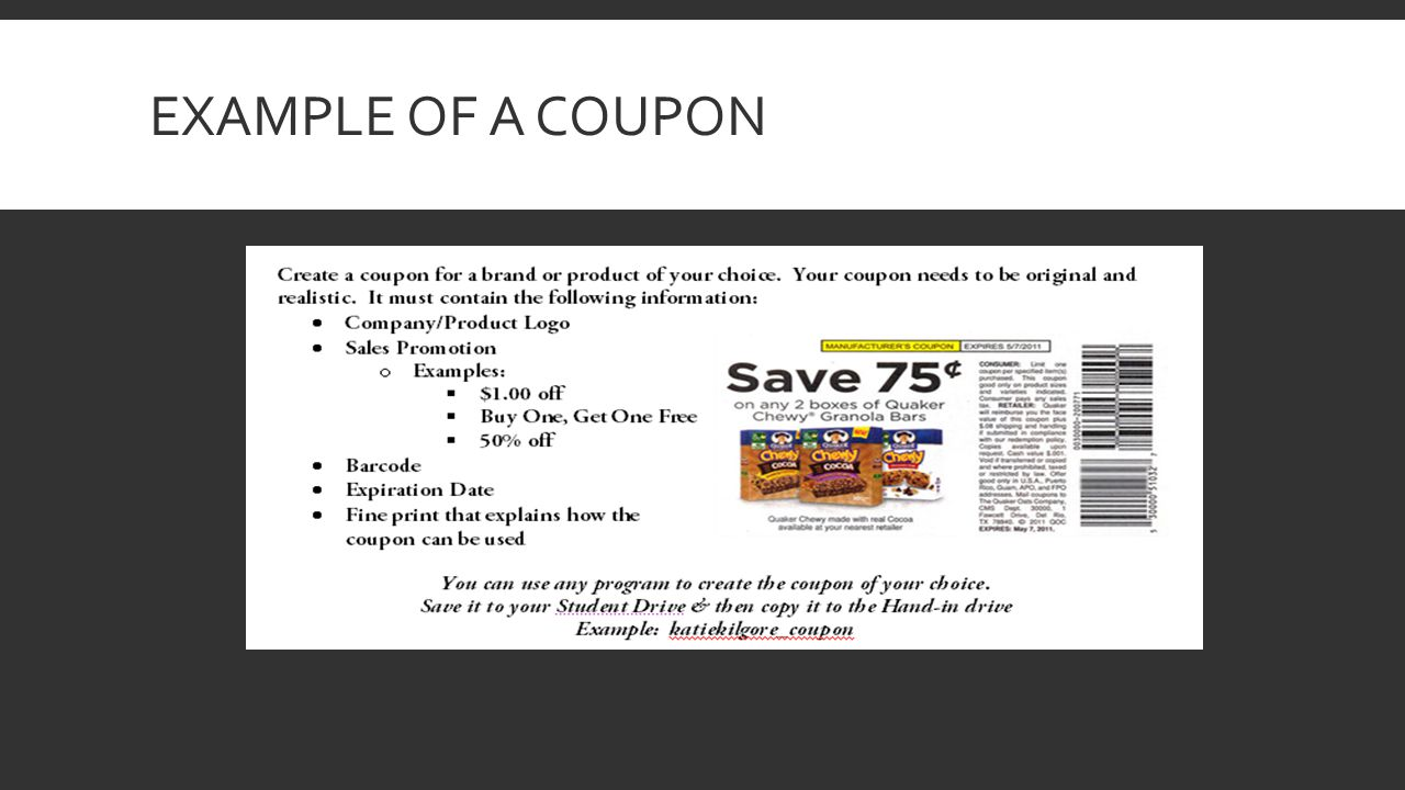 Example of a Coupon