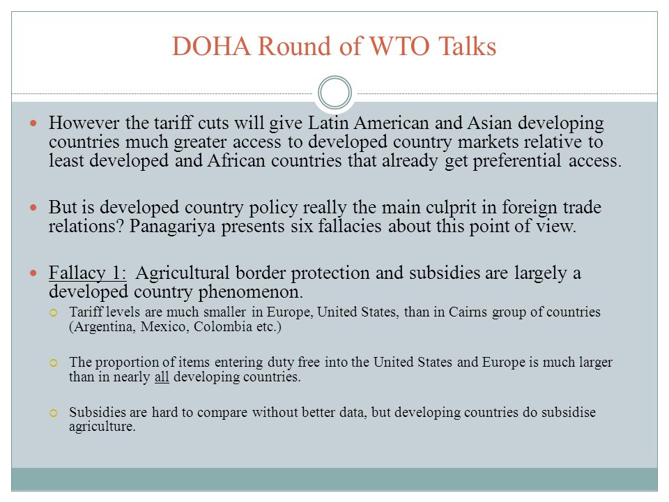 DOHA Round of WTO Talks
