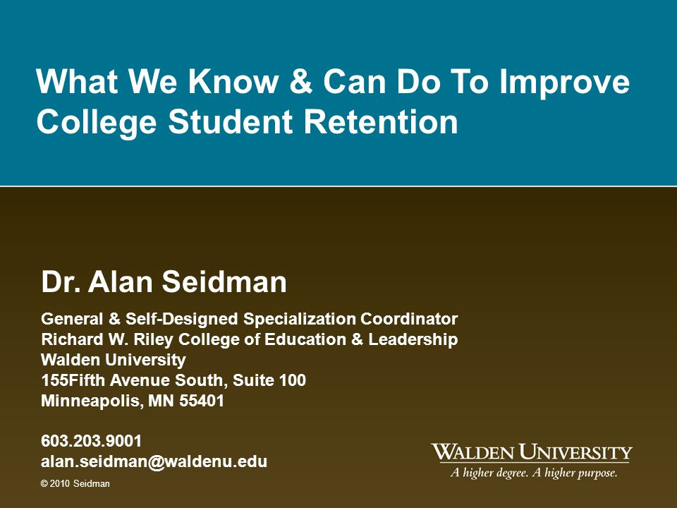 Measuring student retention at an online institution of higher education