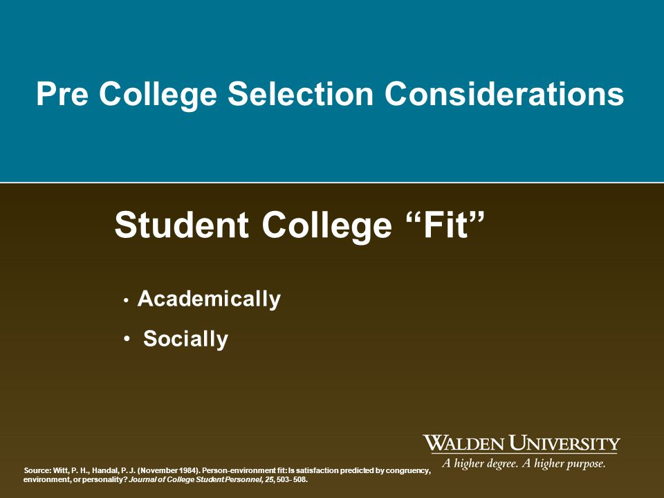 Student College Fit Pre College Selection Considerations Socially