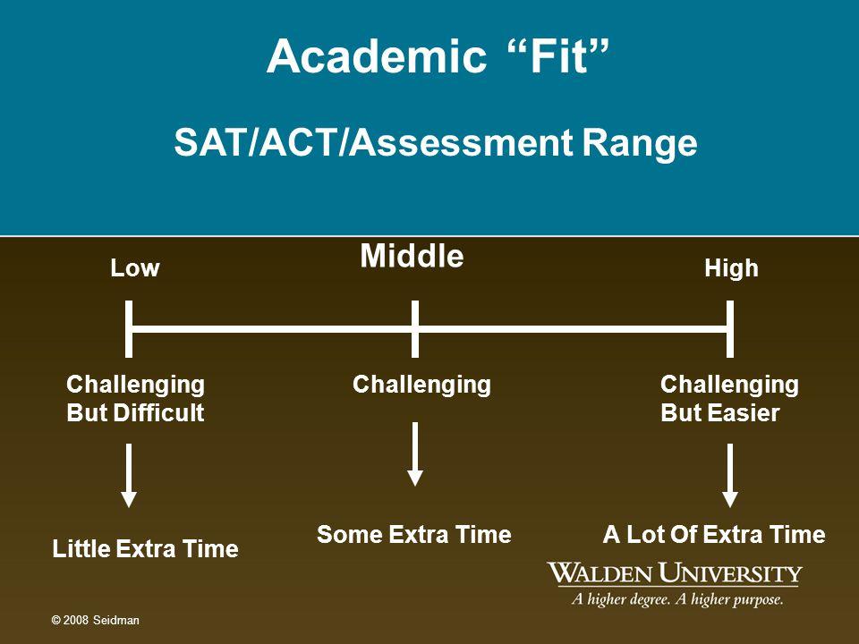 Academic Fit SAT/ACT/Assessment Range Middle Low