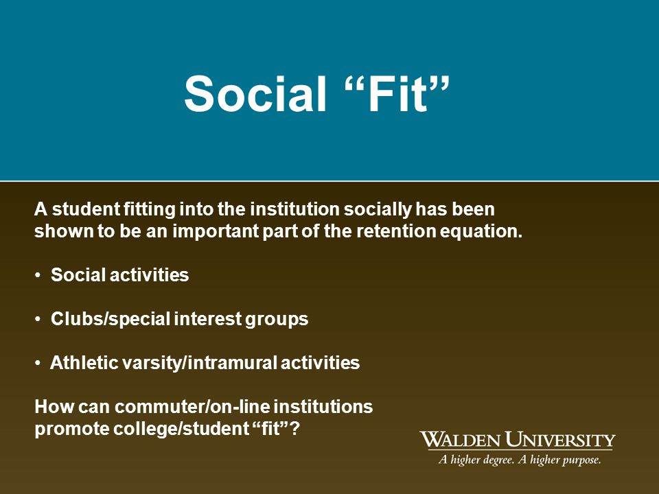 Social Fit A student fitting into the institution socially has been