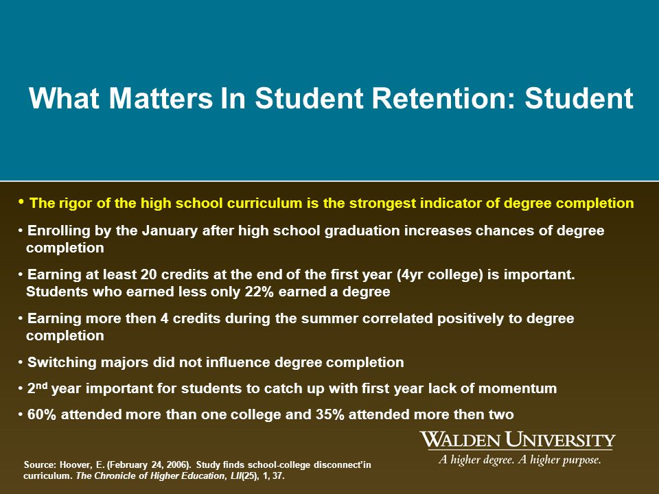 What Matters In Student Retention: Student