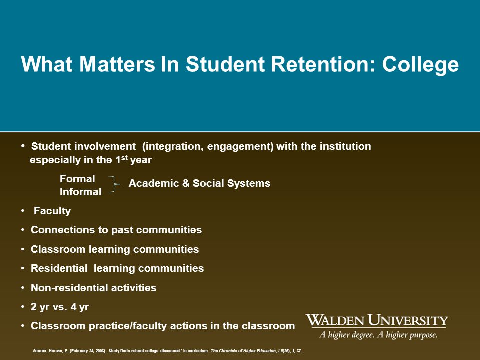 college community paper recruitment research retention student The above chart is a compilation of that research on why students really leave a school  students for attrition and retention purposes it is necessary to .