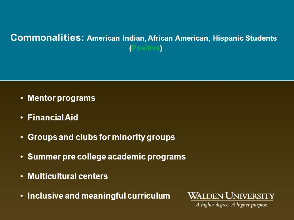 Commonalities: American Indian, African American, Hispanic Students
