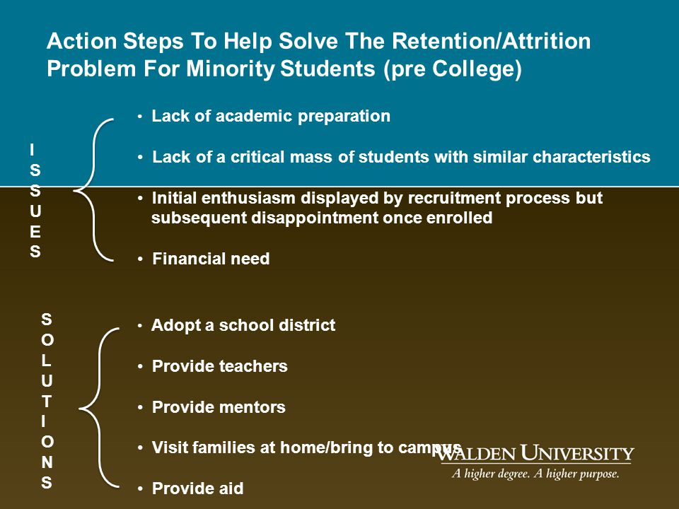 Action Steps To Help Solve The Retention/Attrition Problem For Minority Students (pre College)