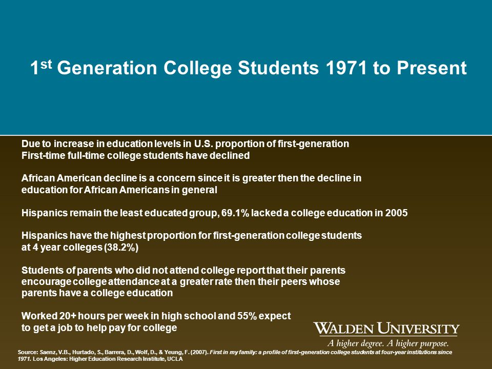 1st Generation College Students 1971 to Present