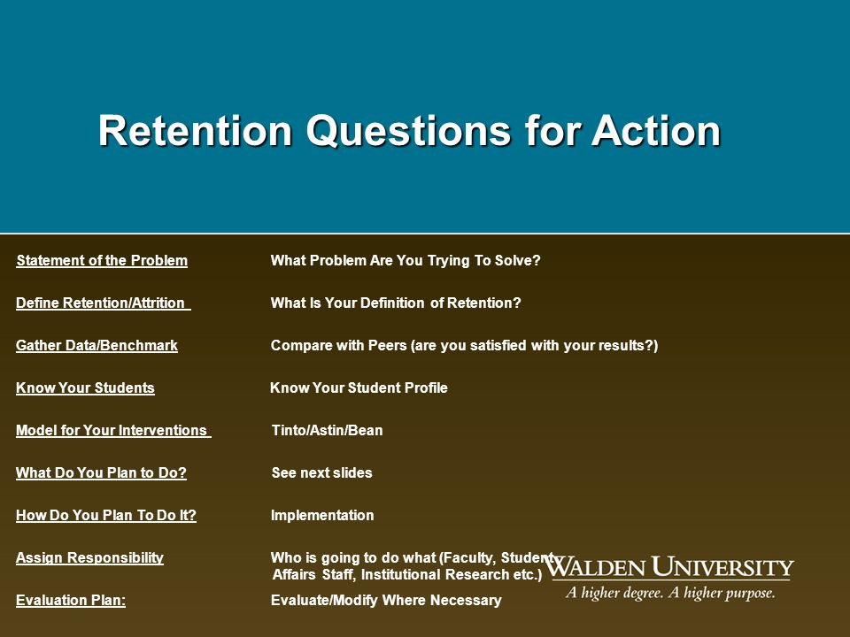 Retention Questions for Action