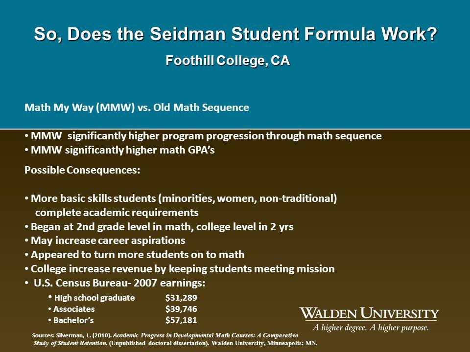 So, Does the Seidman Student Formula Work