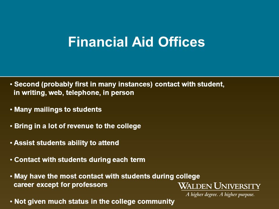 Financial Aid Offices Second (probably first in many instances) contact with student, in writing, web, telephone, in person.