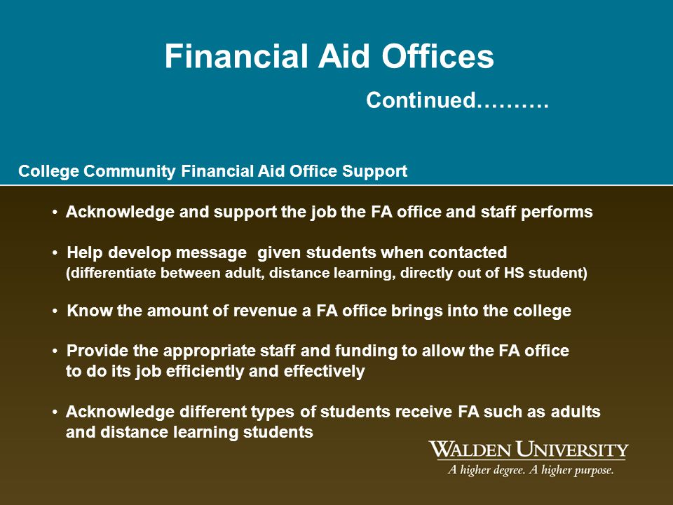 Financial Aid Offices Continued……….