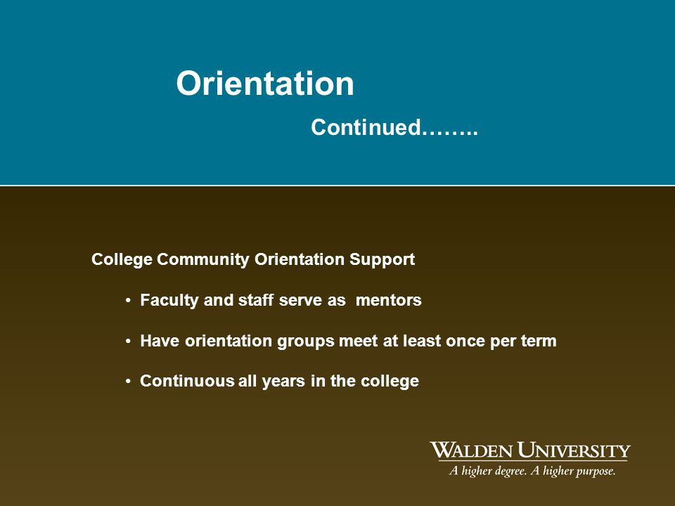 Orientation Continued…….. College Community Orientation Support