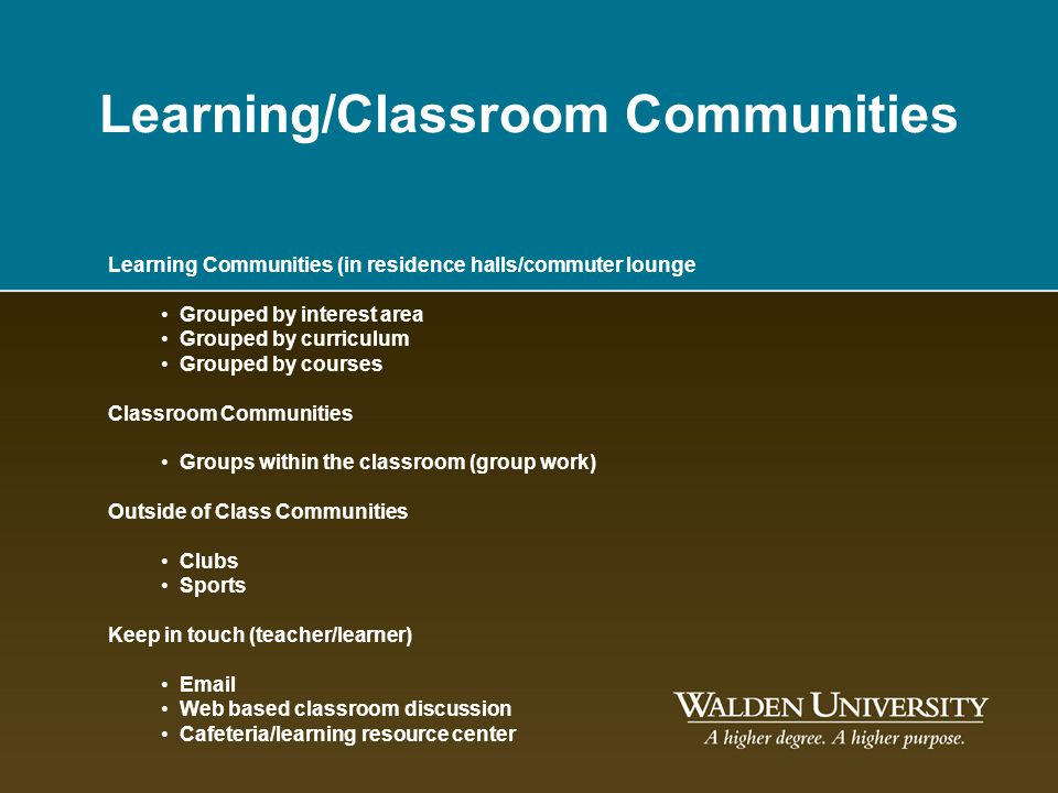 Learning/Classroom Communities