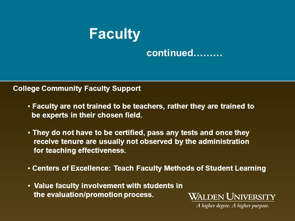 Faculty continued……… College Community Faculty Support