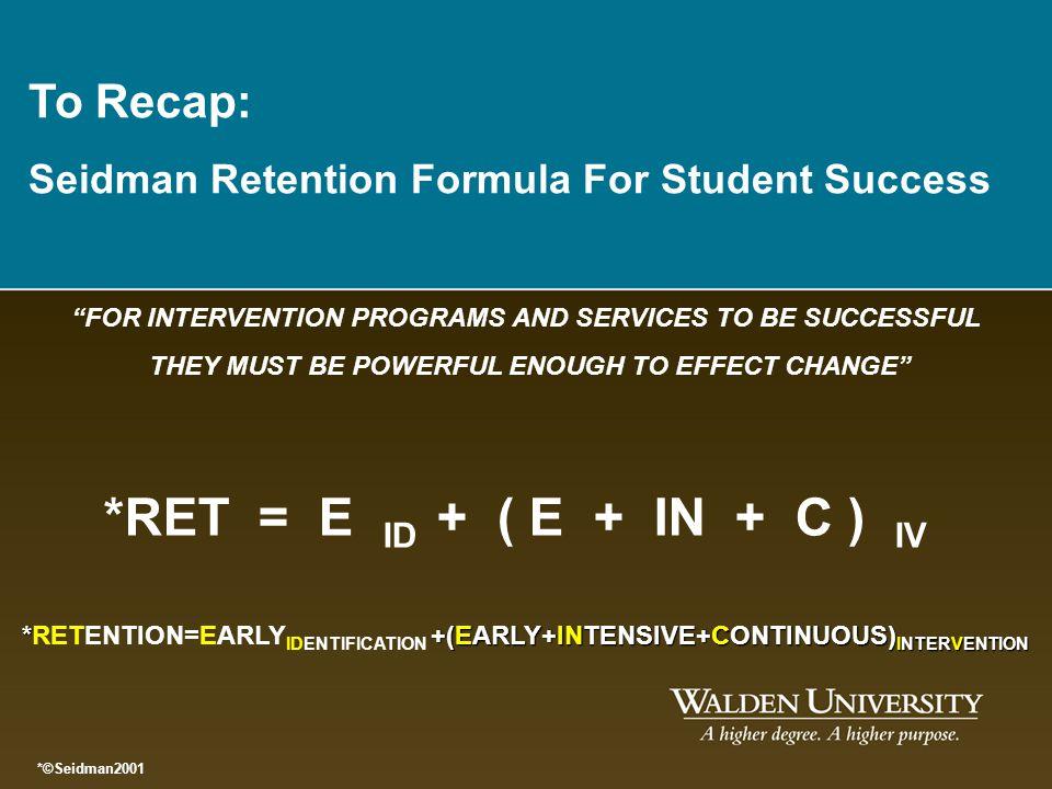To Recap: Seidman Retention Formula For Student Success