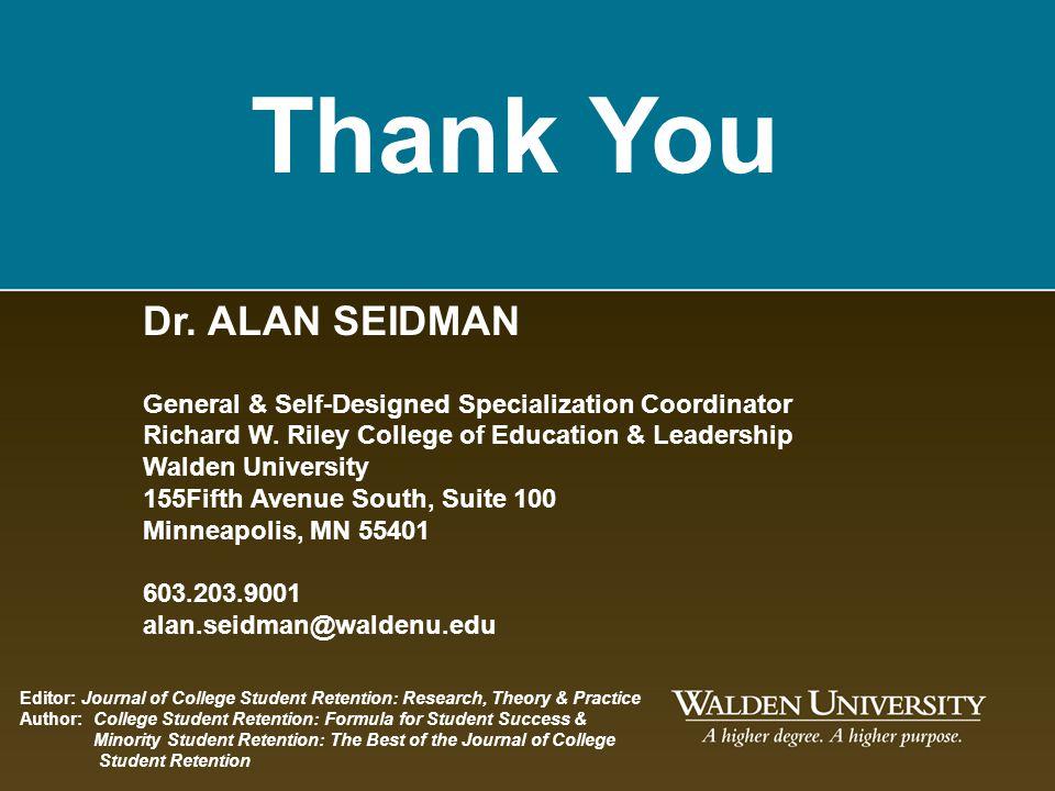 Thank You Dr. ALAN SEIDMAN