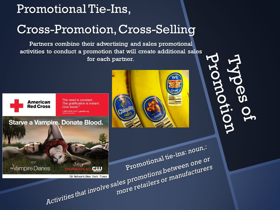 Types of Promotion Promotional Tie-Ins, Cross-Promotion, Cross-Selling