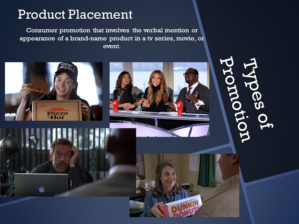 Types of Promotion Product Placement