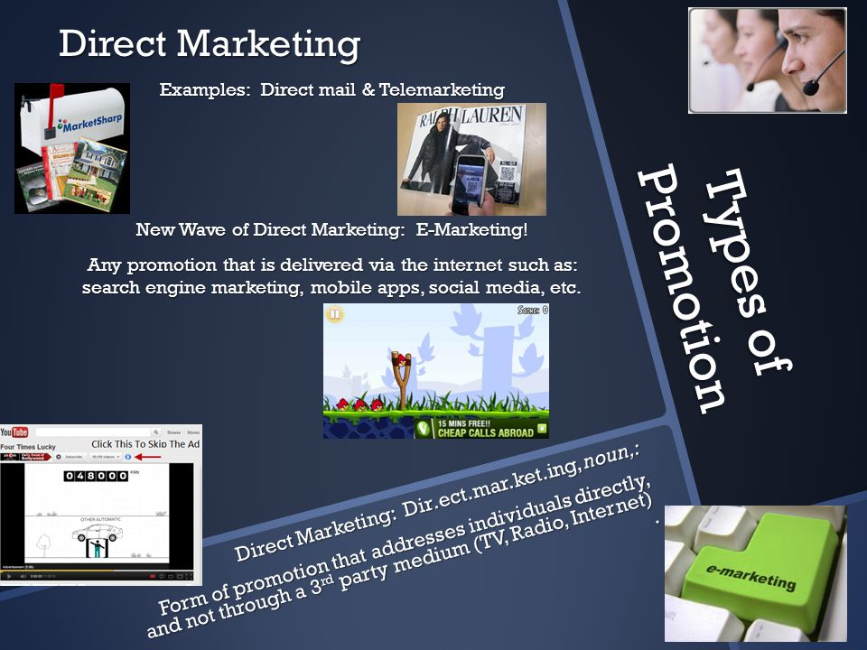 Types of Promotion Direct Marketing
