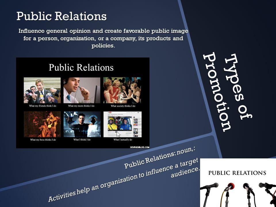 Types of Promotion Public Relations Public Relations: noun,: