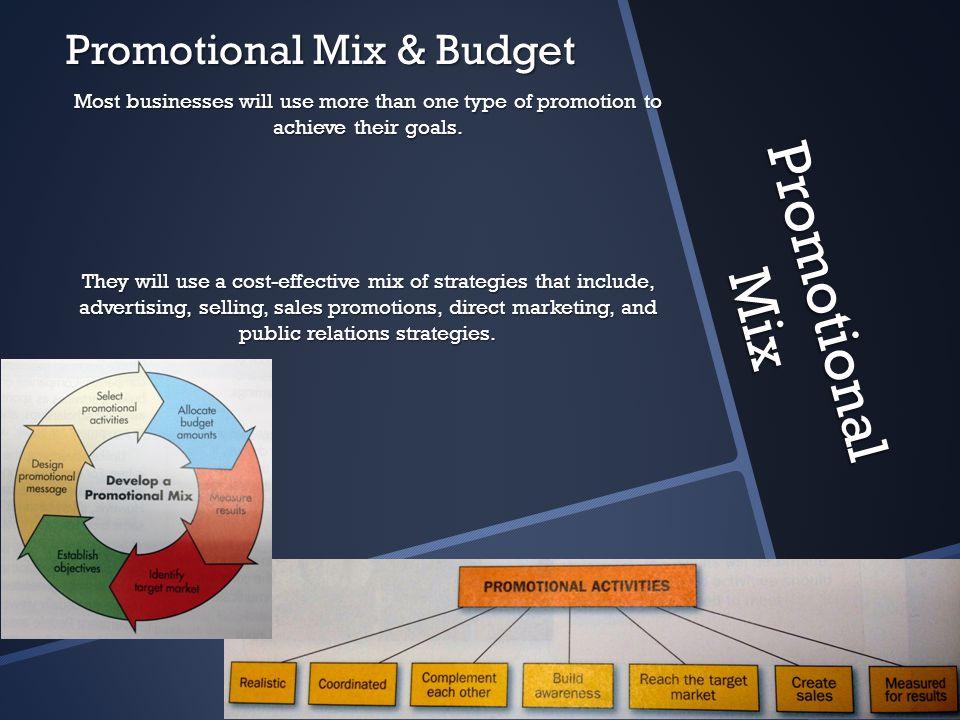Promotional Mix Promotional Mix & Budget