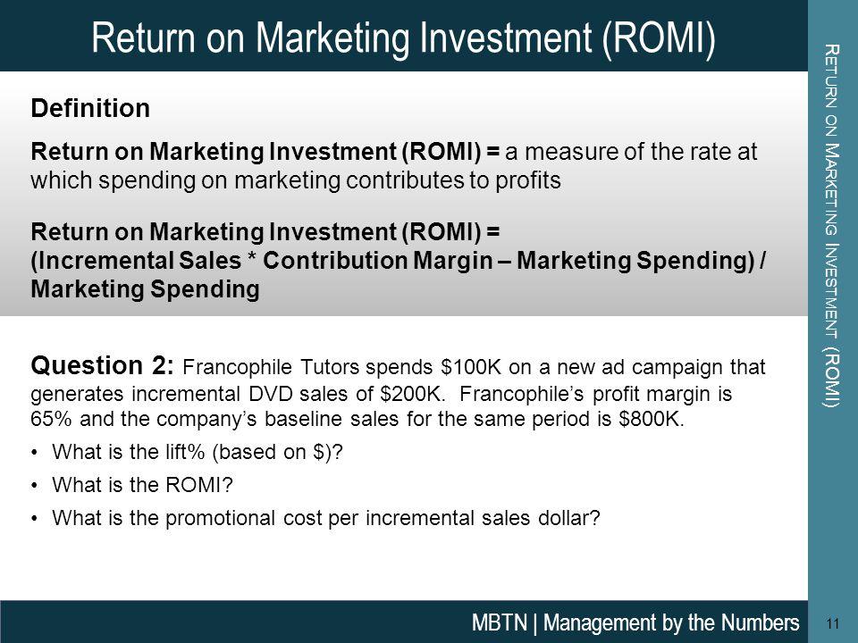 Return on Marketing Investment (ROMI)