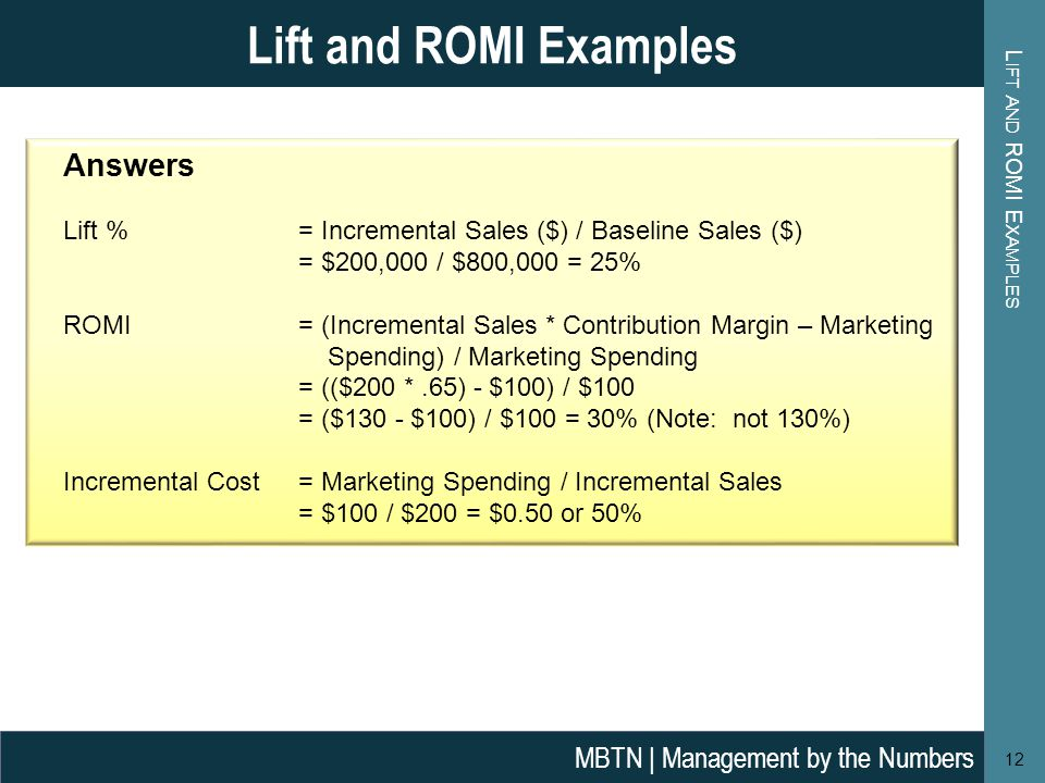 Lift and ROMI Examples Answers MBTN | Management by the Numbers