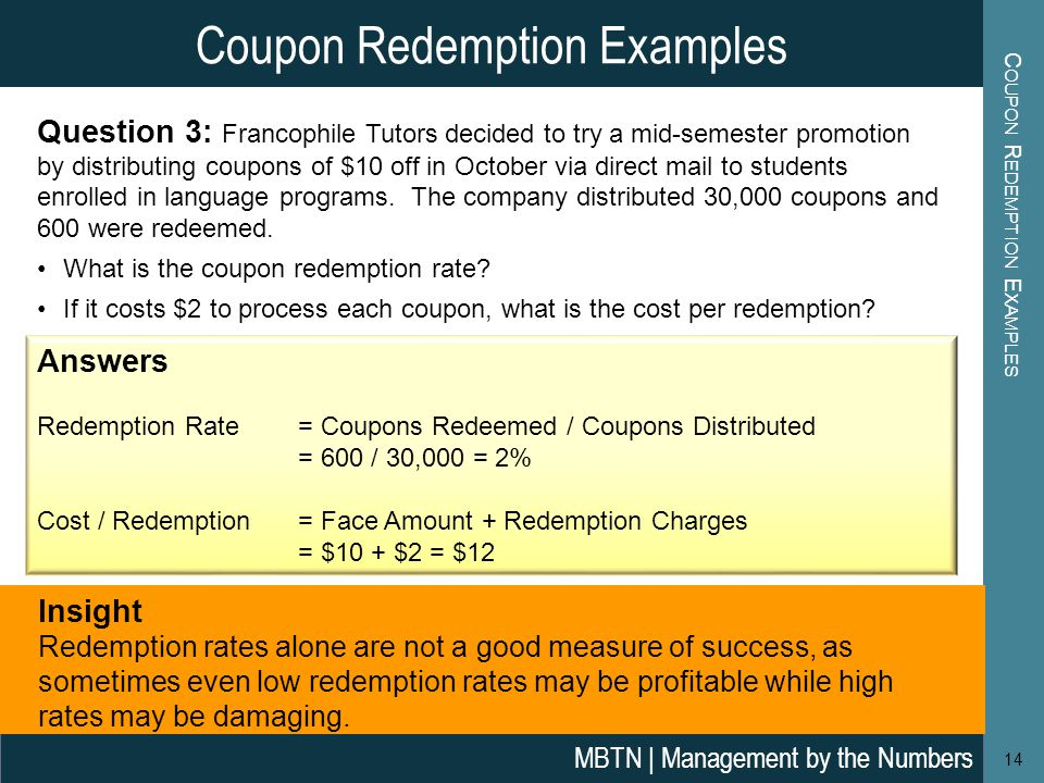 Coupon Redemption Examples