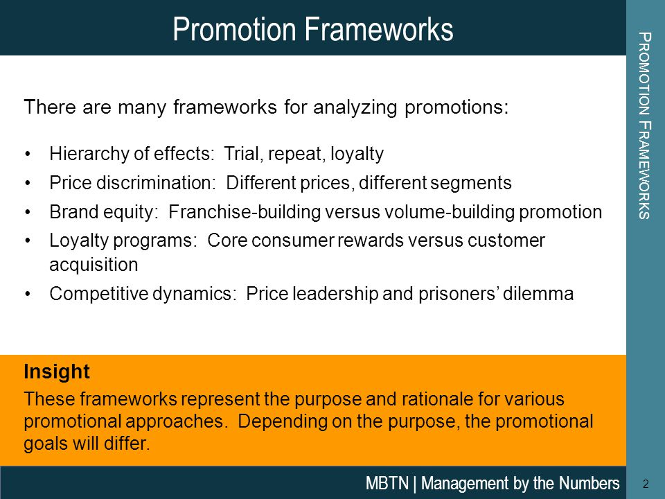 Promotion Frameworks Promotion Frameworks. There are many frameworks for analyzing promotions: Hierarchy of effects: Trial, repeat, loyalty.