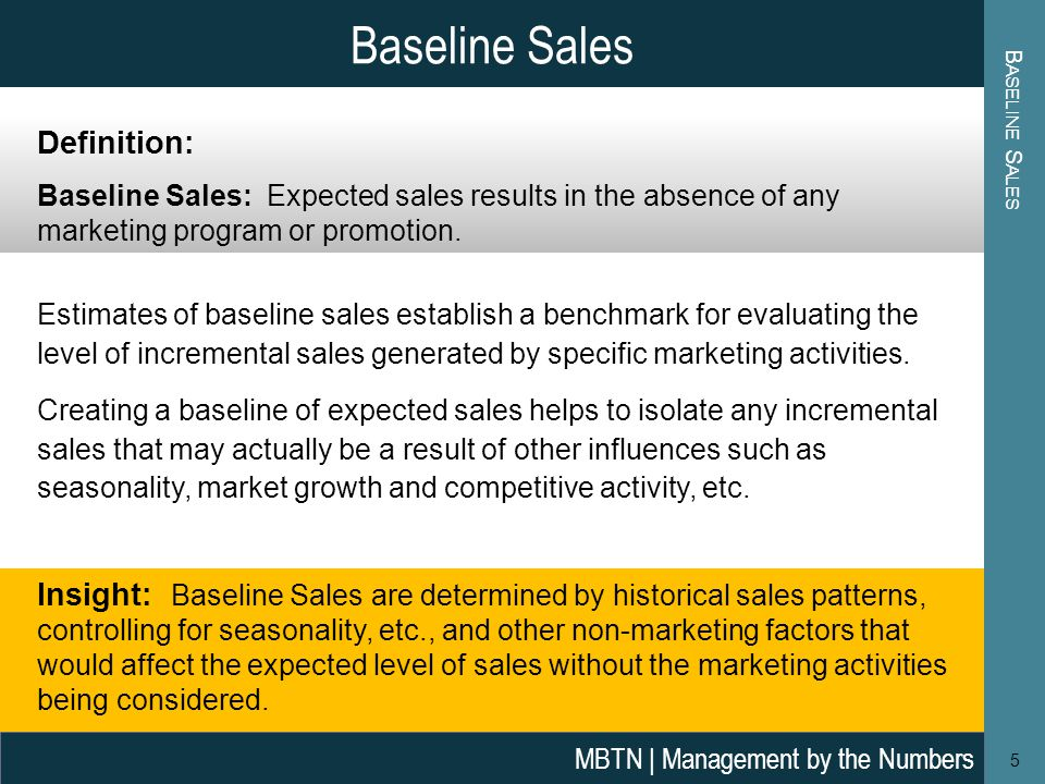 Baseline Sales Definition: