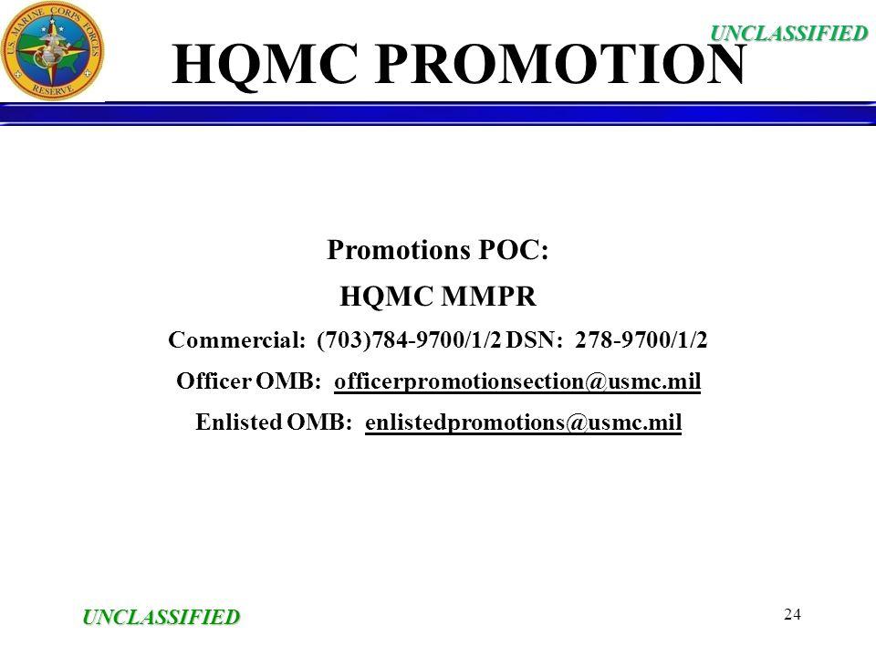 HQMC PROMOTION Promotions POC: HQMC MMPR