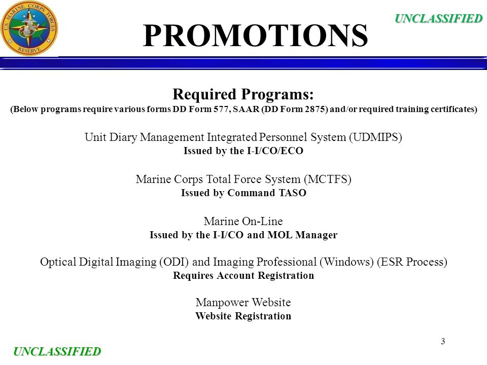 PROMOTIONS Required Programs: UNCLASSIFIED