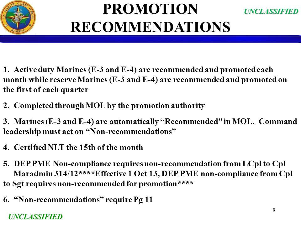PROMOTION RECOMMENDATIONS