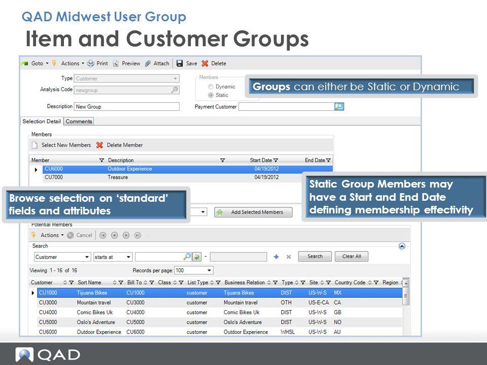 Item and Customer Groups