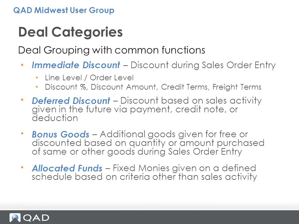 Deal Categories Deal Grouping with common functions