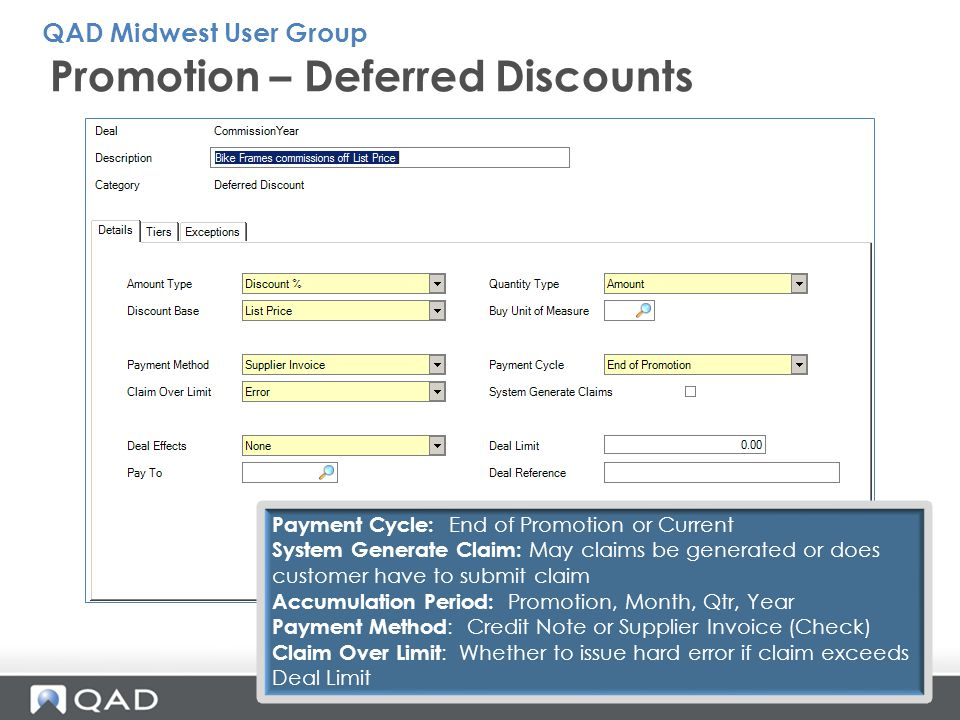 Promotion – Deferred Discounts